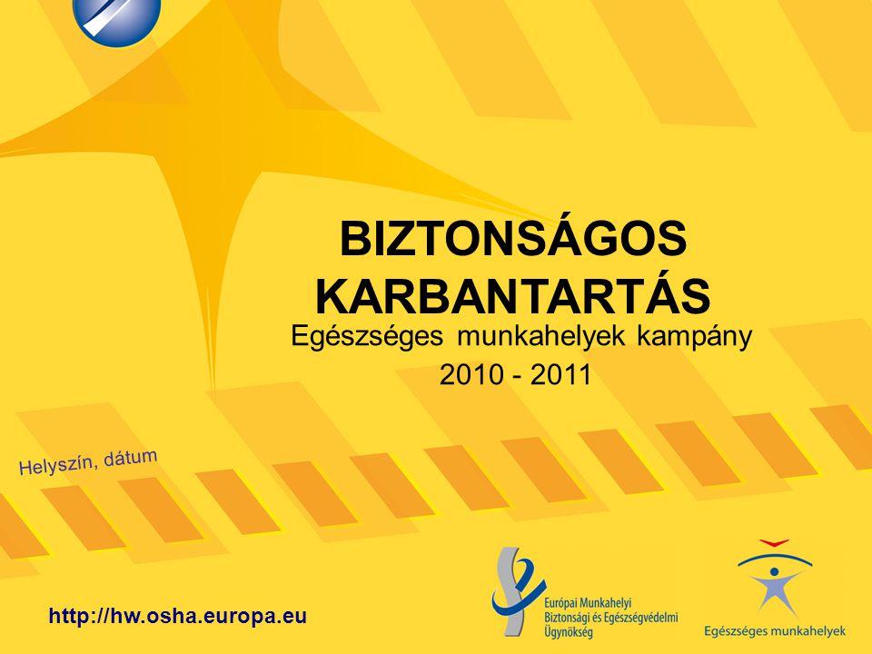 BIZTONSÁGOS KARBANTARTÁS Helyszín, dátum http://hw.osha.europa.eu Egészséges munkahelyek kampány 2010 - 2011