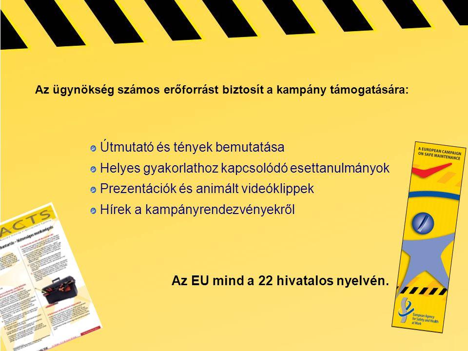 Az ügynökség számos erőforrást biztosít a kampány támogatására: Útmutató és tények bemutatása Helyes gyakorlathoz kapcsolódó esettanulmányok Prezentációk és animált videóklippek Hírek a kampányrendezvényekről Az EU mind a 22 hivatalos nyelvén.