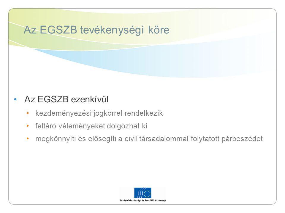 Az EGSZB tevékenységi köre Az EGSZB ezenkívül kezdeményezési jogkörrel rendelkezik feltáró véleményeket dolgozhat ki megkönnyíti és elősegíti a civil