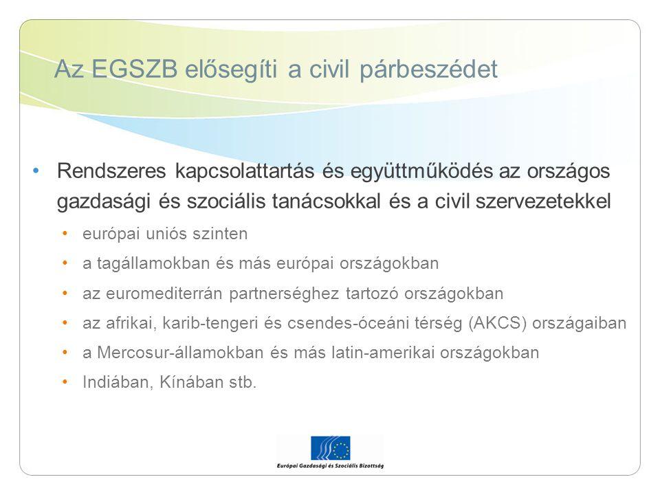 Az EGSZB elősegíti a civil párbeszédet Rendszeres kapcsolattartás és együttműködés az országos gazdasági és szociális tanácsokkal és a civil szervezet
