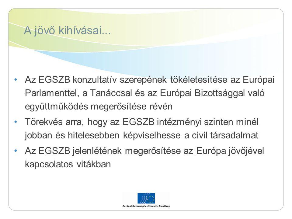 A jövő kihívásai... Az EGSZB konzultatív szerepének tökéletesítése az Európai Parlamenttel, a Tanáccsal és az Európai Bizottsággal való együttműködés