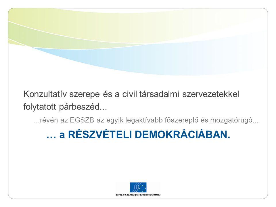 Konzultatív szerepe és a civil társadalmi szervezetekkel folytatott párbeszéd......révén az EGSZB az egyik legaktívabb főszereplő és mozgatórugó... …