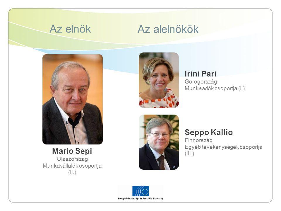 Az elnök Az alelnökök Mario Sepi Olaszország Munkavállalók csoportja (II.) Irini Pari Görögország Munkaadók csoportja (I.) Seppo Kallio Finnország Egy