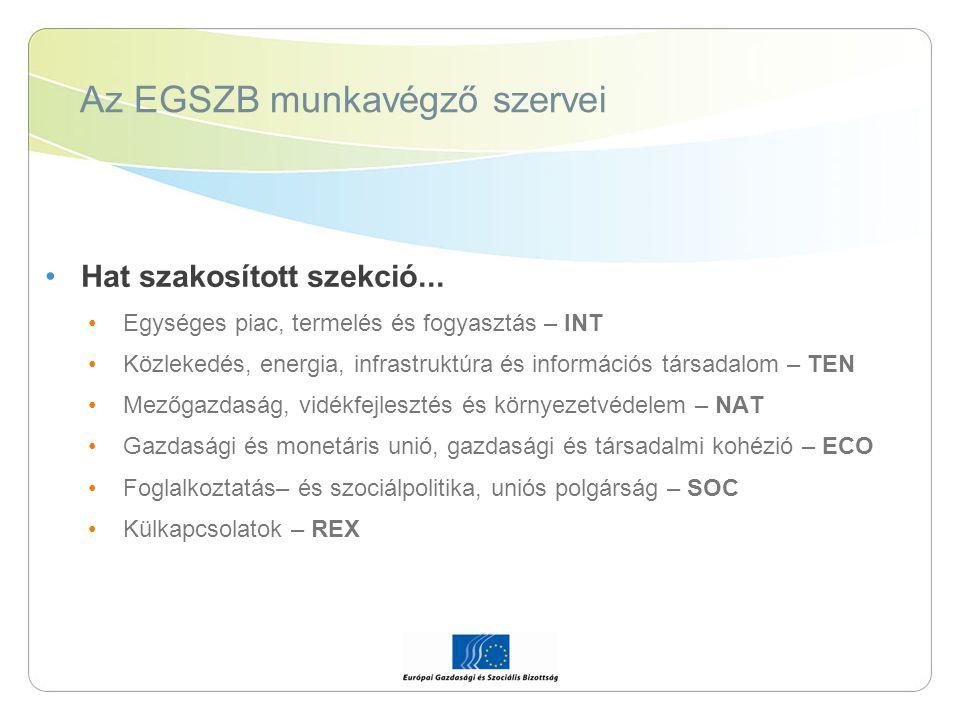 Az EGSZB munkavégző szervei Hat szakosított szekció... Egységes piac, termelés és fogyasztás – INT Közlekedés, energia, infrastruktúra és információs