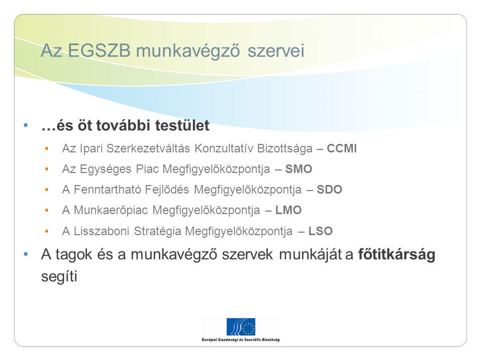 Az EGSZB munkavégző szervei …és öt további testület Az Ipari Szerkezetváltás Konzultatív Bizottsága – CCMI Az Egységes Piac Megfigyelőközpontja – SMO