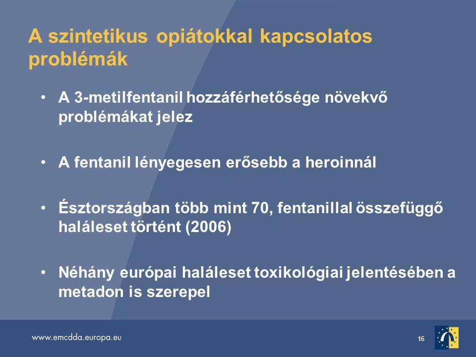 16 A szintetikus opiátokkal kapcsolatos problémák A 3-metilfentanil hozzáférhetősége növekvő problémákat jelez A fentanil lényegesen erősebb a heroinnál Észtországban több mint 70, fentanillal összefüggő haláleset történt (2006) Néhány európai haláleset toxikológiai jelentésében a metadon is szerepel