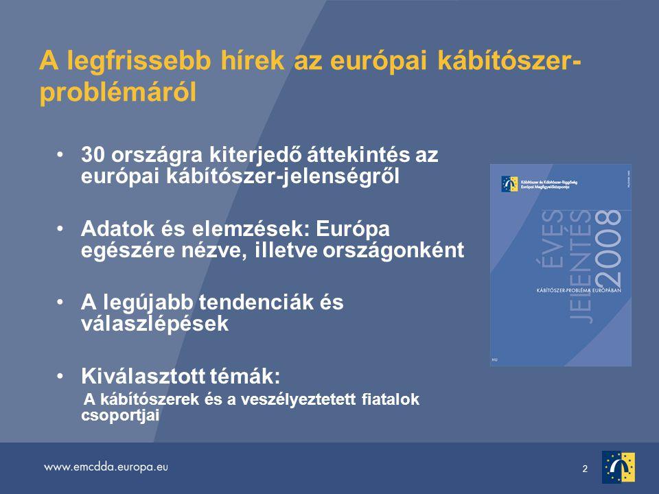 2 A legfrissebb hírek az európai kábítószer- problémáról 30 országra kiterjedő áttekintés az európai kábítószer-jelenségről Adatok és elemzések: Európa egészére nézve, illetve országonként A legújabb tendenciák és válaszlépések Kiválasztott témák: A kábítószerek és a veszélyeztetett fiatalok csoportjai