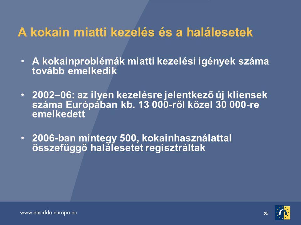 25 A kokain miatti kezelés és a halálesetek A kokainproblémák miatti kezelési igények száma tovább emelkedik 2002–06: az ilyen kezelésre jelentkező új kliensek száma Európában kb.