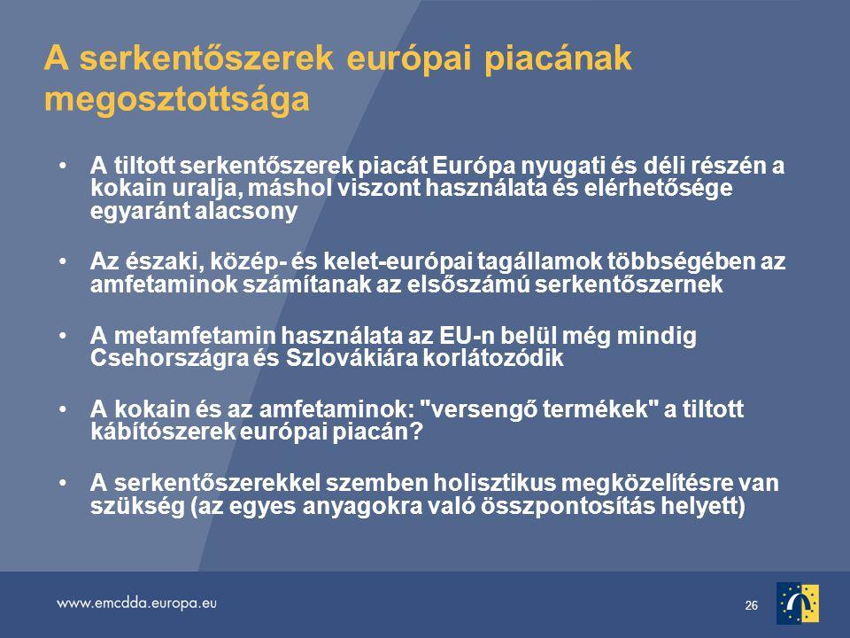 26 A serkentőszerek európai piacának megosztottsága A tiltott serkentőszerek piacát Európa nyugati és déli részén a kokain uralja, máshol viszont használata és elérhetősége egyaránt alacsony Az északi, közép- és kelet-európai tagállamok többségében az amfetaminok számítanak az elsőszámú serkentőszernek A metamfetamin használata az EU-n belül még mindig Csehországra és Szlovákiára korlátozódik A kokain és az amfetaminok: versengő termékek a tiltott kábítószerek európai piacán.