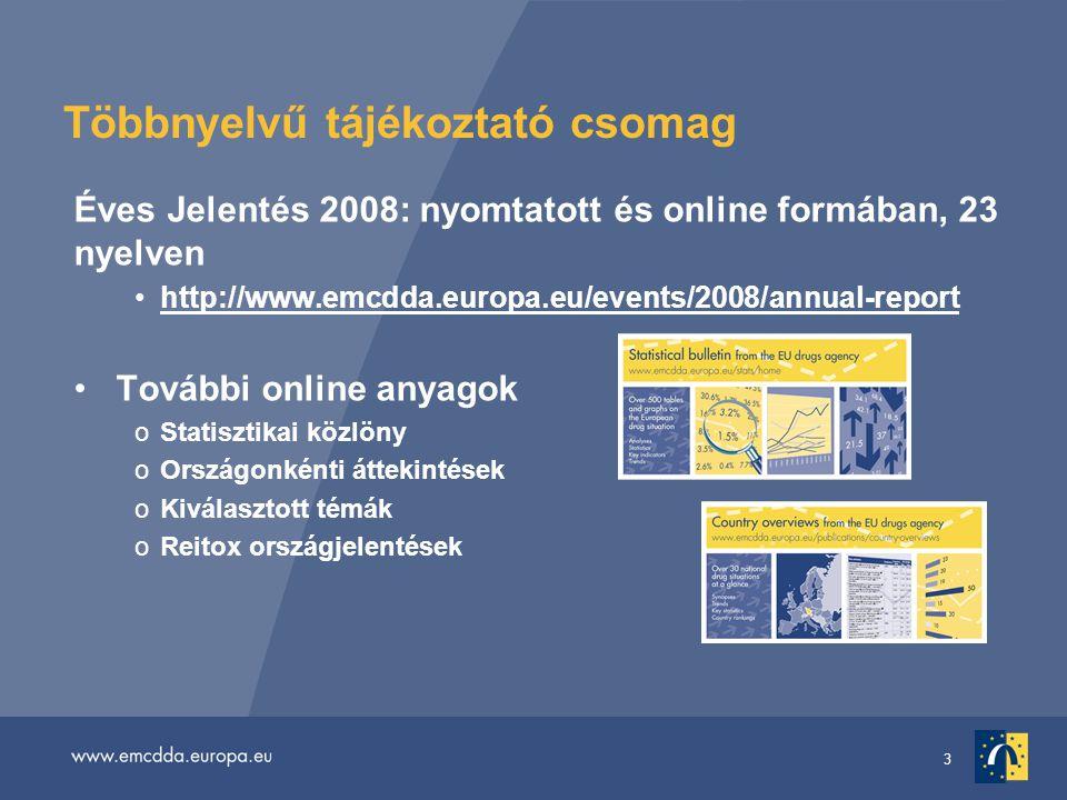 3 Többnyelvű tájékoztató csomag Éves Jelentés 2008: nyomtatott és online formában, 23 nyelven http://www.emcdda.europa.eu/events/2008/annual-report További online anyagok oStatisztikai közlöny oOrszágonkénti áttekintések oKiválasztott témák oReitox országjelentések