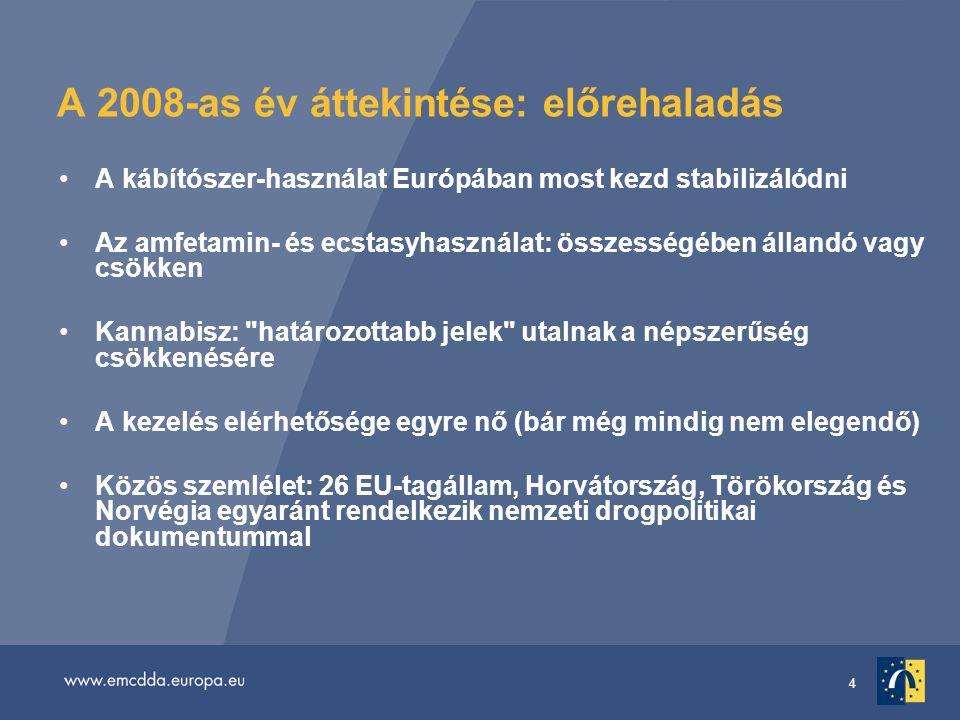 4 A 2008-as év áttekintése: előrehaladás A kábítószer-használat Európában most kezd stabilizálódni Az amfetamin- és ecstasyhasználat: összességében állandó vagy csökken Kannabisz: határozottabb jelek utalnak a népszerűség csökkenésére A kezelés elérhetősége egyre nő (bár még mindig nem elegendő) Közös szemlélet: 26 EU-tagállam, Horvátország, Törökország és Norvégia egyaránt rendelkezik nemzeti drogpolitikai dokumentummal