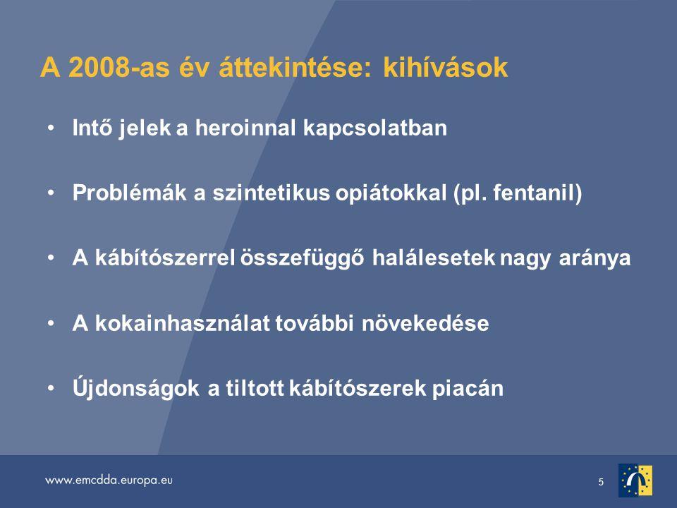 5 A 2008-as év áttekintése: kihívások Intő jelek a heroinnal kapcsolatban Problémák a szintetikus opiátokkal (pl.