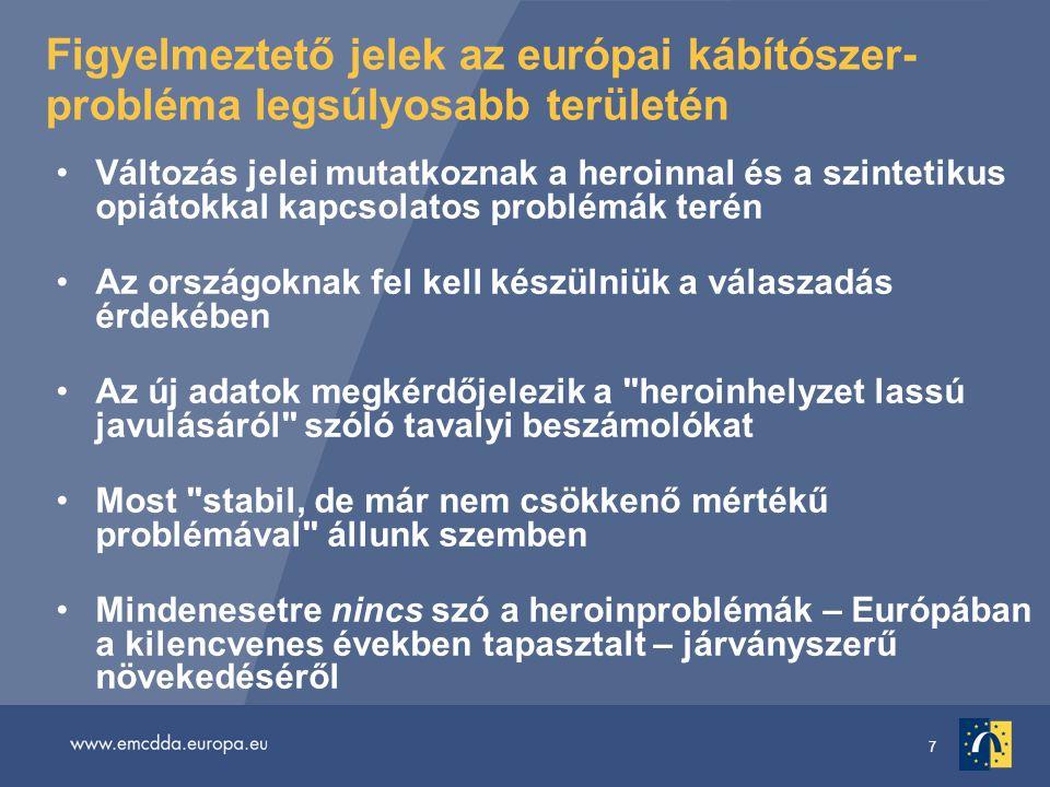 7 Figyelmeztető jelek az európai kábítószer- probléma legsúlyosabb területén Változás jelei mutatkoznak a heroinnal és a szintetikus opiátokkal kapcsolatos problémák terén Az országoknak fel kell készülniük a válaszadás érdekében Az új adatok megkérdőjelezik a heroinhelyzet lassú javulásáról szóló tavalyi beszámolókat Most stabil, de már nem csökkenő mértékű problémával állunk szemben Mindenesetre nincs szó a heroinproblémák – Európában a kilencvenes években tapasztalt – járványszerű növekedéséről