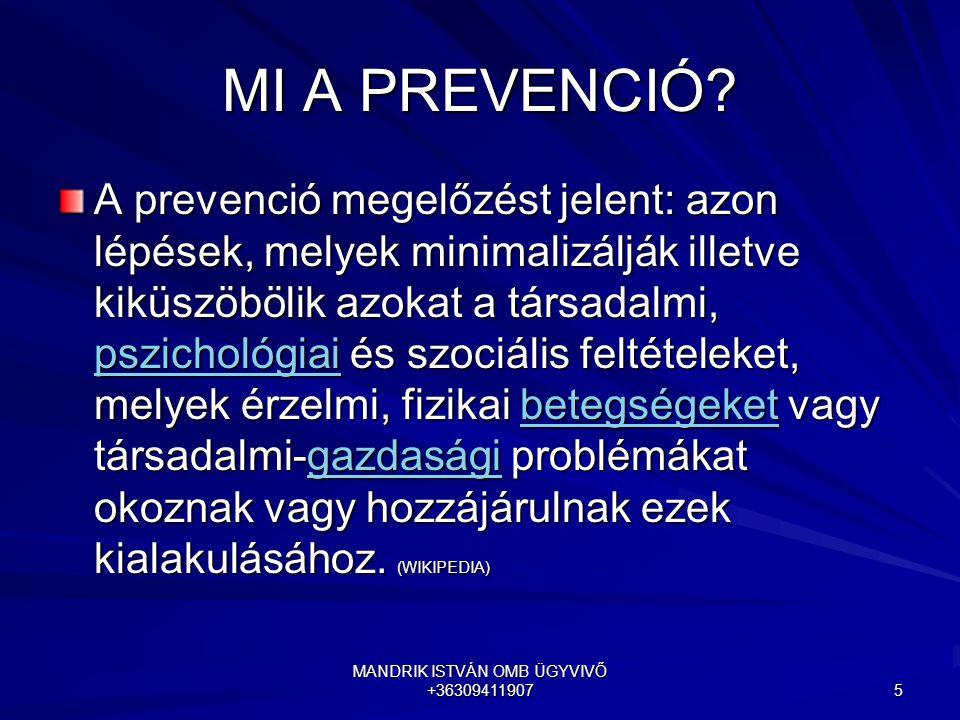 MANDRIK ISTVÁN OMB ÜGYVIVŐ +36309411907 5 MI A PREVENCIÓ? A prevenció megelőzést jelent: azon lépések, melyek minimalizálják illetve kiküszöbölik azok