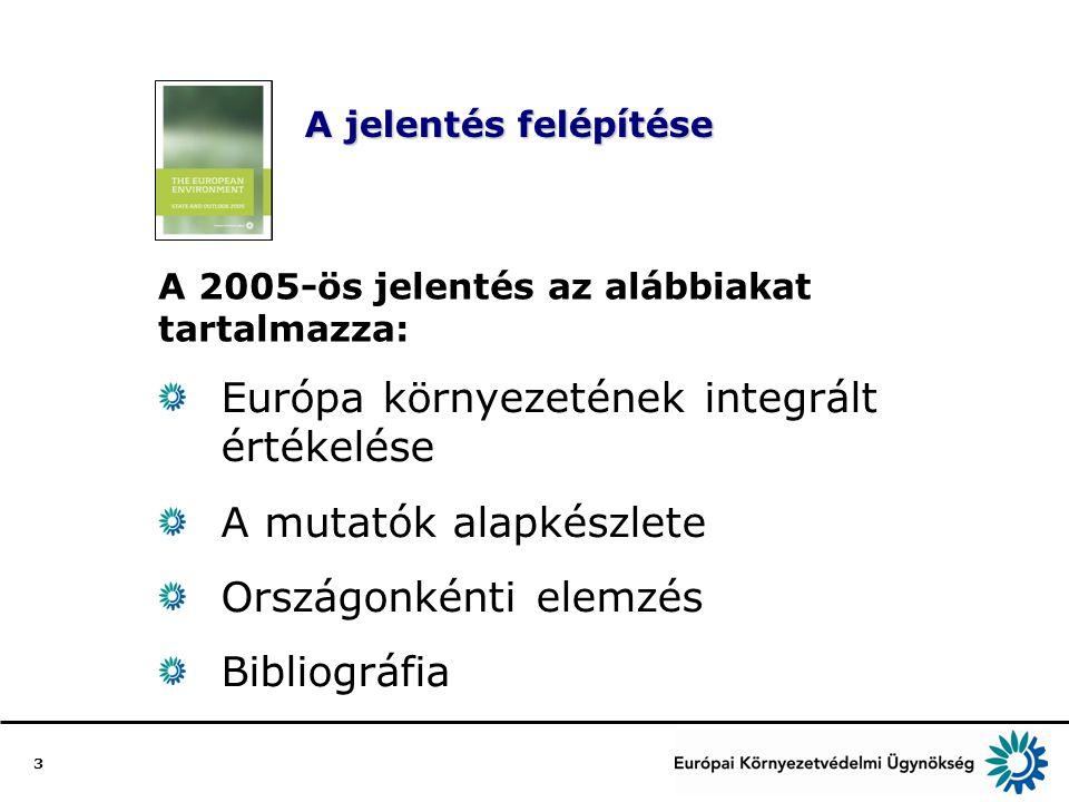 3 A jelentés felépítése Európa környezetének integrált értékelése A mutatók alapkészlete Országonkénti elemzés Bibliográfia A 2005-ös jelentés az alábbiakat tartalmazza: