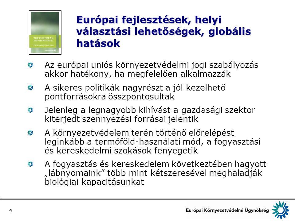 """4 Európai fejlesztések, helyi választási lehetőségek, globális hatások Az európai uniós környezetvédelmi jogi szabályozás akkor hatékony, ha megfelelően alkalmazzák A sikeres politikák nagyrészt a jól kezelhető pontforrásokra összpontosultak Jelenleg a legnagyobb kihívást a gazdasági szektor kiterjedt szennyezési forrásai jelentik A környezetvédelem terén történő előrelépést leginkább a termőföld-használati mód, a fogyasztási és kereskedelmi szokások fenyegetik A fogyasztás és kereskedelem következtében hagyott """"lábnyomaink több mint kétszeresével meghaladják biológiai kapacitásunkat"""