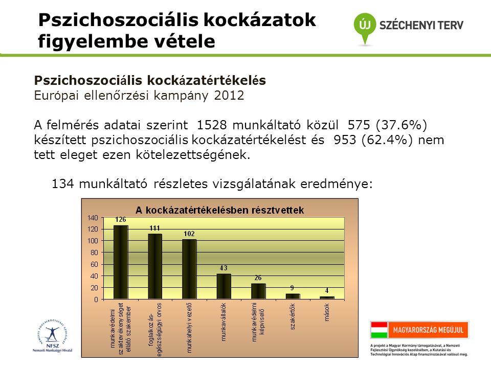 Pszichoszociális kockázatok figyelembe vétele Pszichoszoci á lis kock á zat é rt é kel é s Eur ó pai ellenőrz é si kamp á ny 2012 A felmérés adatai sz