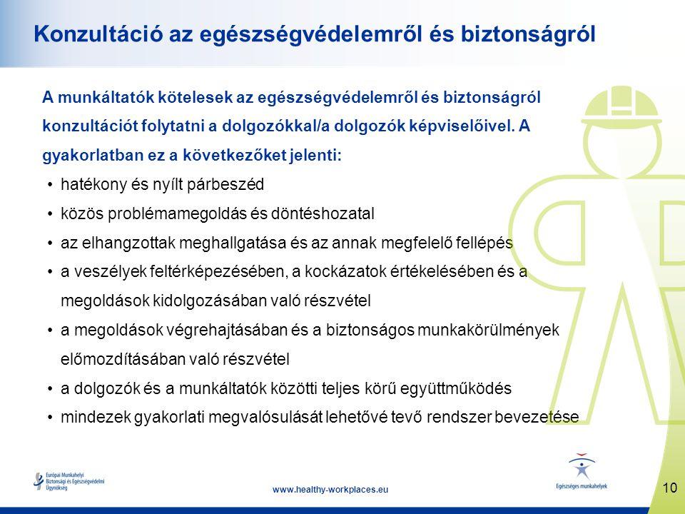 10 www.healthy-workplaces.eu Konzultáció az egészségvédelemről és biztonságról A munkáltatók kötelesek az egészségvédelemről és biztonságról konzultác