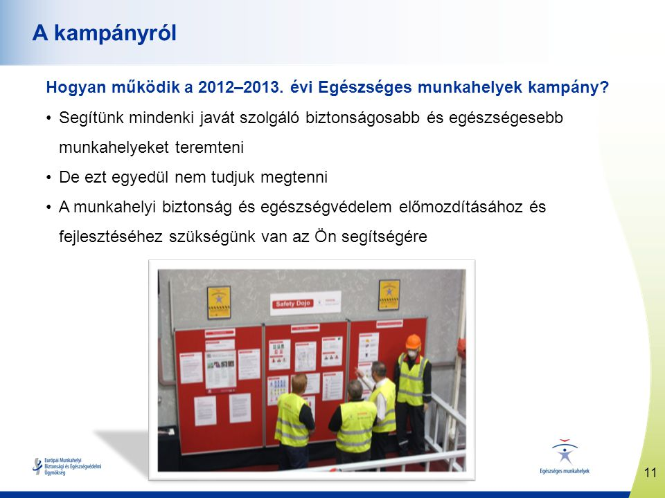 11 www.healthy-workplaces.eu A kampányról Hogyan működik a 2012–2013. évi Egészséges munkahelyek kampány? Segítünk mindenki javát szolgáló biztonságos