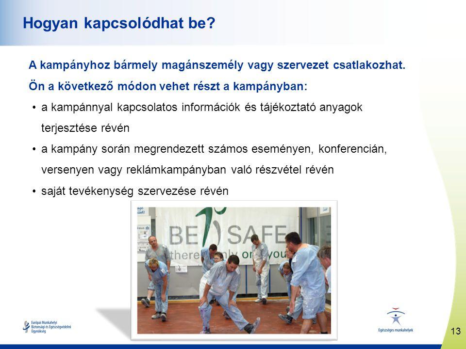 13 www.healthy-workplaces.eu Hogyan kapcsolódhat be? A kampányhoz bármely magánszemély vagy szervezet csatlakozhat. Ön a következő módon vehet részt a