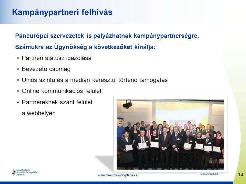 14 www.healthy-workplaces.eu Kampánypartneri felhívás Páneurópai szervezetek is pályázhatnak kampánypartnerségre. Számukra az Ügynökség a következőket