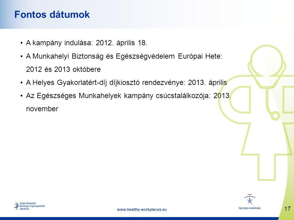 17 www.healthy-workplaces.eu Fontos dátumok A kampány indulása: 2012. április 18. A Munkahelyi Biztonság és Egészségvédelem Európai Hete: 2012 és 2013