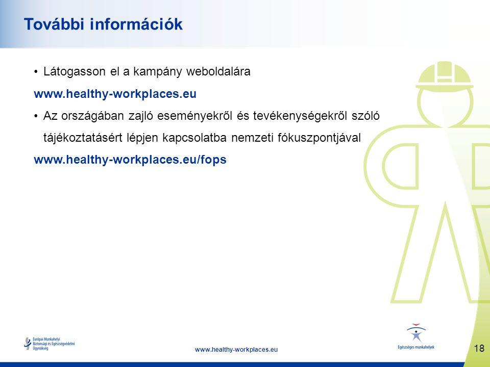 18 www.healthy-workplaces.eu További információk Látogasson el a kampány weboldalára www.healthy-workplaces.eu Az országában zajló eseményekről és tevékenységekről szóló tájékoztatásért lépjen kapcsolatba nemzeti fókuszpontjával www.healthy-workplaces.eu/fops