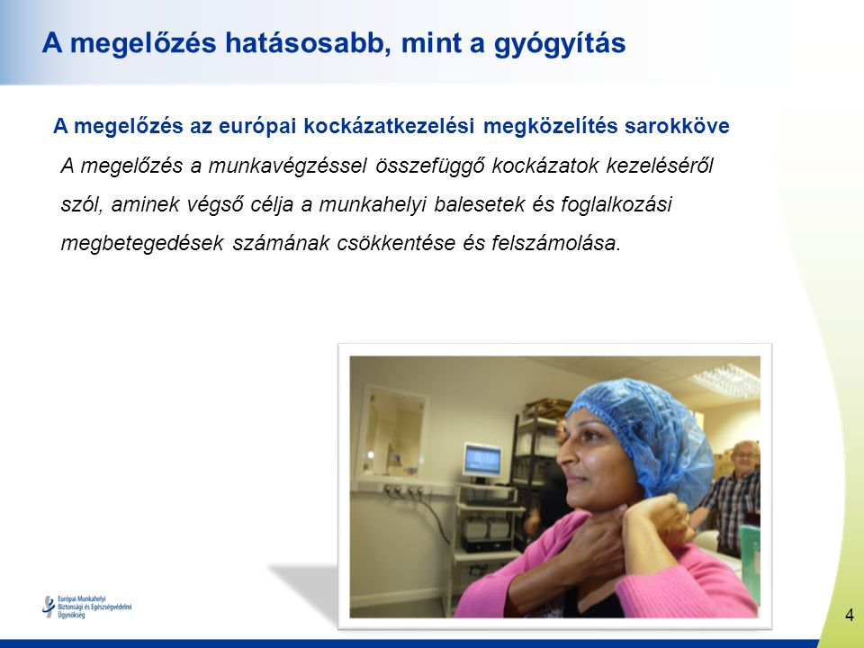 4 www.healthy-workplaces.eu A megelőzés hatásosabb, mint a gyógyítás A megelőzés az európai kockázatkezelési megközelítés sarokköve A megelőzés a munk