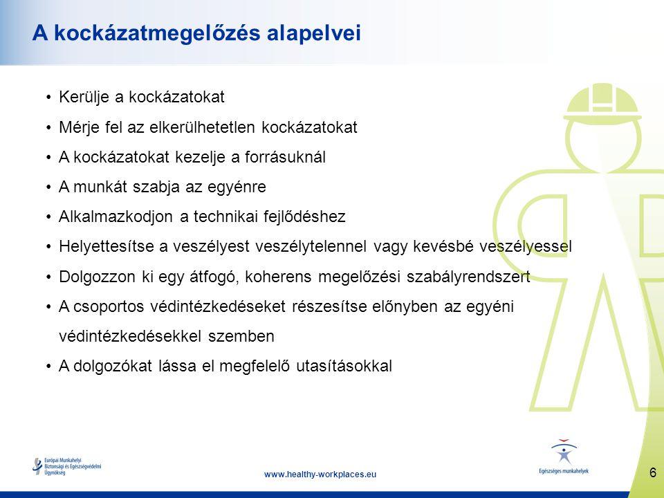 6 www.healthy-workplaces.eu A kockázatmegelőzés alapelvei Kerülje a kockázatokat Mérje fel az elkerülhetetlen kockázatokat A kockázatokat kezelje a forrásuknál A munkát szabja az egyénre Alkalmazkodjon a technikai fejlődéshez Helyettesítse a veszélyest veszélytelennel vagy kevésbé veszélyessel Dolgozzon ki egy átfogó, koherens megelőzési szabályrendszert A csoportos védintézkedéseket részesítse előnyben az egyéni védintézkedésekkel szemben A dolgozókat lássa el megfelelő utasításokkal