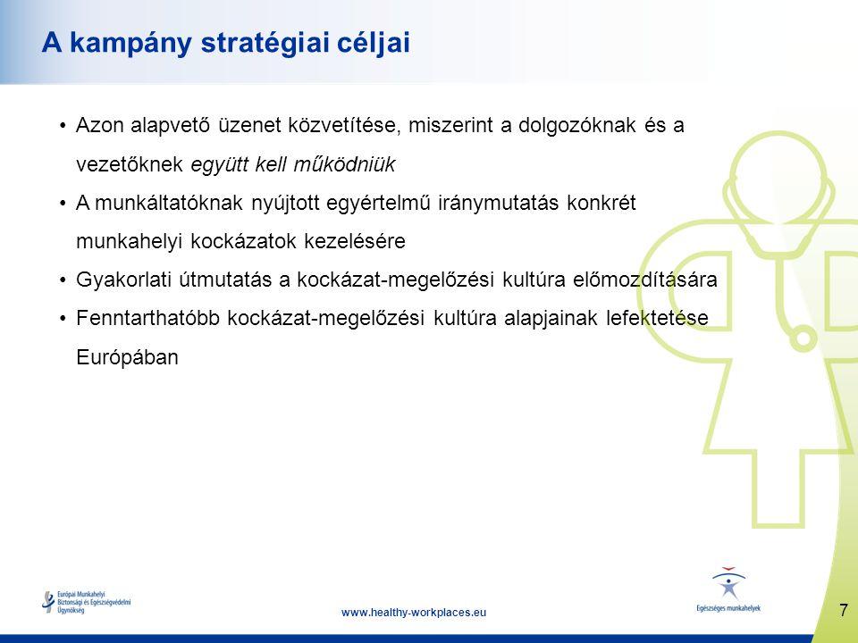 7 www.healthy-workplaces.eu A kampány stratégiai céljai Azon alapvető üzenet közvetítése, miszerint a dolgozóknak és a vezetőknek együtt kell működniü