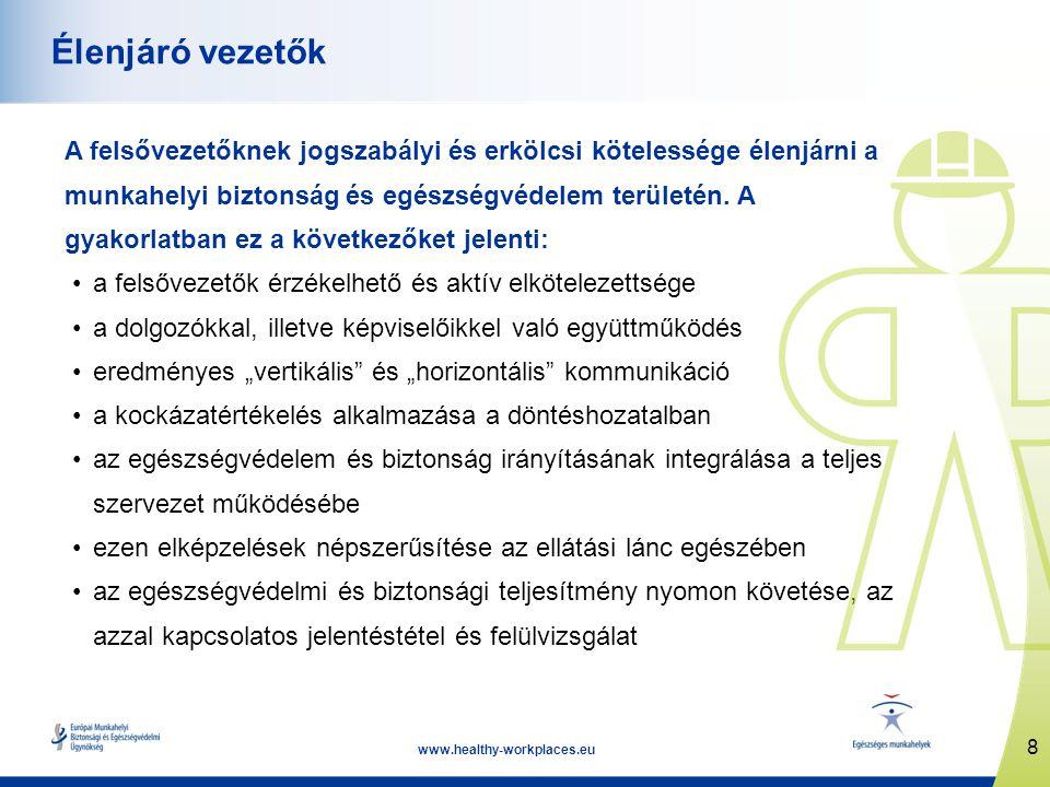 8 www.healthy-workplaces.eu Élenjáró vezetők A felsővezetőknek jogszabályi és erkölcsi kötelessége élenjárni a munkahelyi biztonság és egészségvédelem