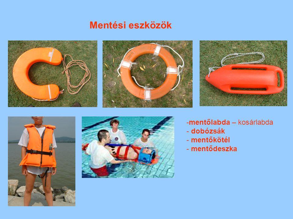 Mentési eszközök -mentőlabda – kosárlabda - dobózsák - mentőkötél - mentődeszka