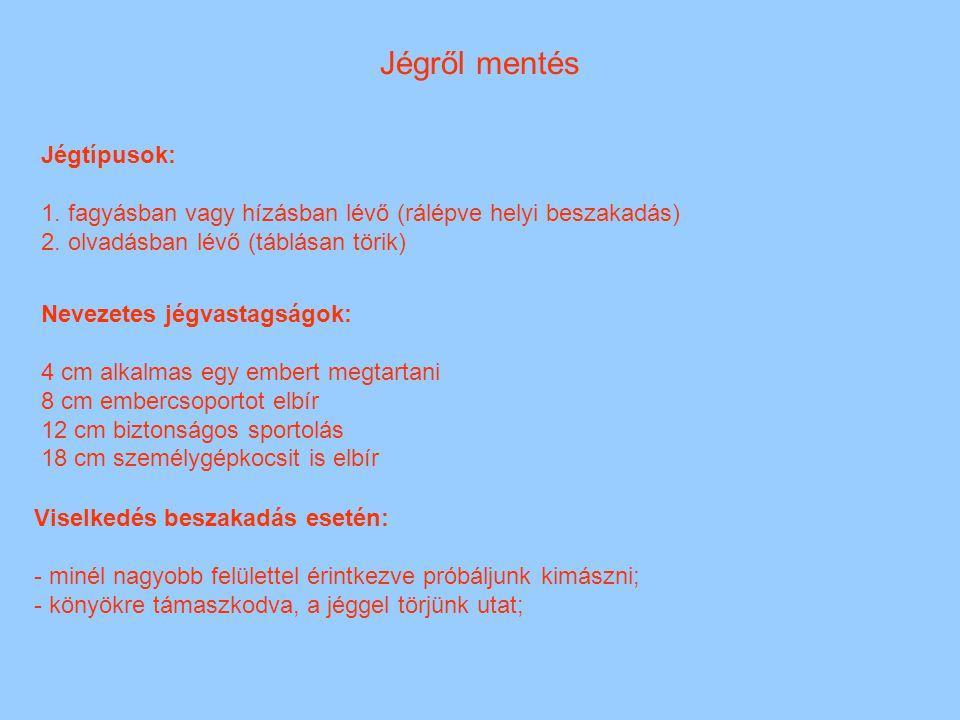 Jégről mentés Jégtípusok: 1. fagyásban vagy hízásban lévő (rálépve helyi beszakadás) 2. olvadásban lévő (táblásan törik) Nevezetes jégvastagságok: 4 c
