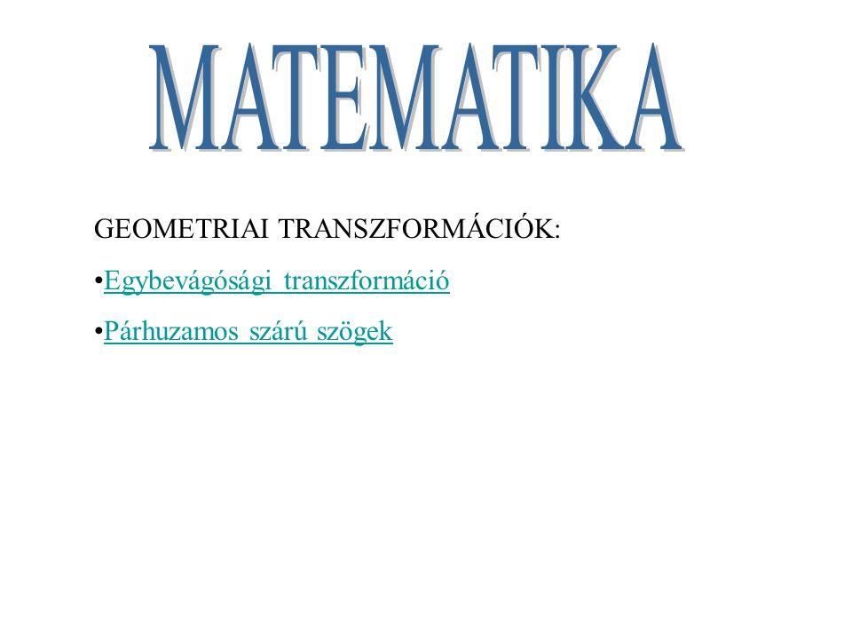 GEOMETRIAI TRANSZFORMÁCIÓK: Egybevágósági transzformáció Párhuzamos szárú szögek