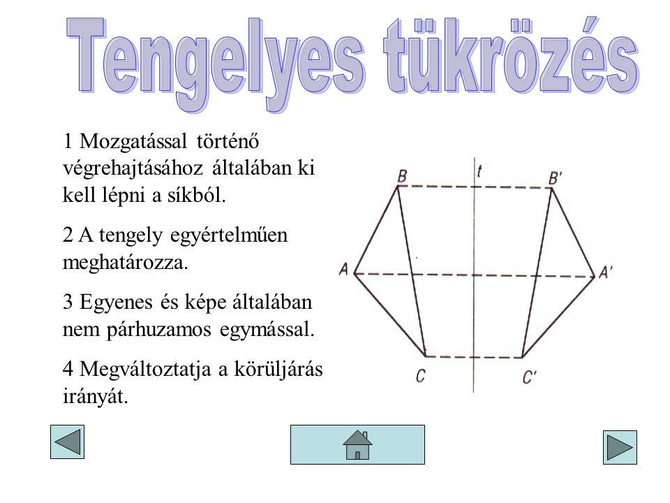 1 Mozgatással történő végrehajtásához általában ki kell lépni a síkból. 2 A tengely egyértelműen meghatározza. 3 Egyenes és képe általában nem párhuza