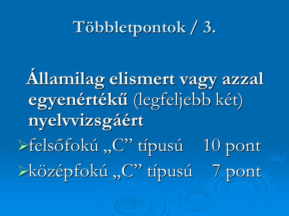 Többletpontok / 3. Államilag elismert vagy azzal egyenértékű (legfeljebb két) nyelvvizsgáért Államilag elismert vagy azzal egyenértékű (legfeljebb két