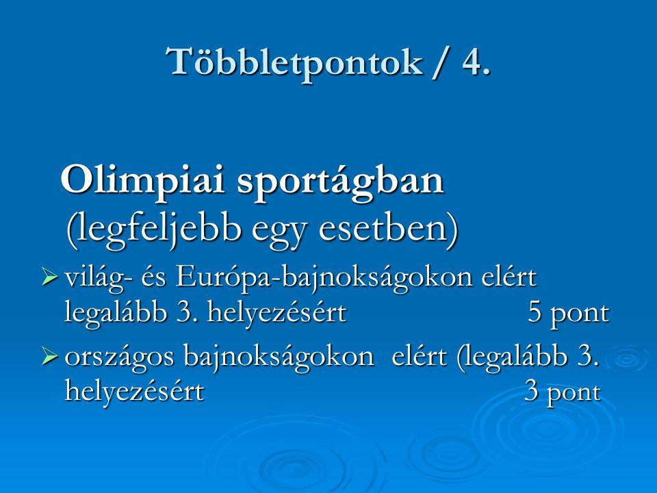 Többletpontok / 4. Olimpiai sportágban (legfeljebb egy esetben) Olimpiai sportágban (legfeljebb egy esetben)  világ- és Európa-bajnokságokon elért le
