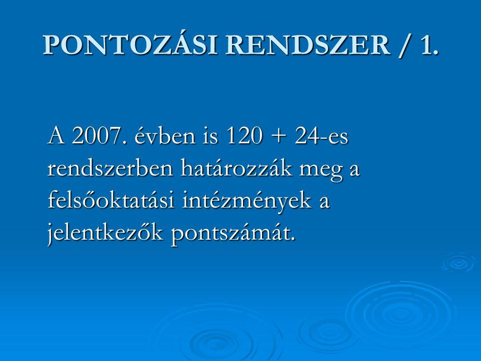 PONTOZÁSI RENDSZER / 1. A 2007. évben is 120 + 24-es rendszerben határozzák meg a felsőoktatási intézmények a jelentkezők pontszámát.