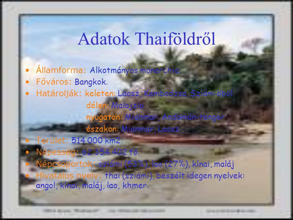 Turizmus Thaiföld az ázsiai turizmus egyik központja Főbb központok: Bangkok, Phuket, Kho Samoi, Pattaya Thaiföld leginkább az üdülési lehetőségek és a strandok miatt látogatott, de sokan mennek a vallási és történelmi emlékek miatt is Kiképzett vezetők viszik az utazót különlegesebbnél különlegesebb helyekre és érdekes foglalkozásokra (pl: elefántlovaglás, Angkor Wat meglátogatása, buvárkodás, túrák stb.)