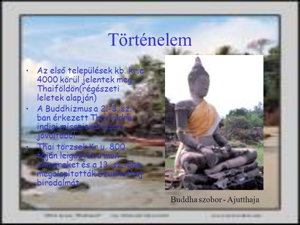 Vallások: buddhista (94%), mohamedán (4%), keresztény (1%). Hivatalos pénz: 1 Baht = kb. 5 forint. Időeltolódás: + 6 óra. Éghajlat: Trópusi. Vízum: Ví