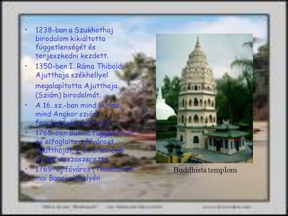 Történelem Az első települések kb. kr.e 4000 körül jelentek meg Thaiföldön(régészeti leletek alapján) A Buddhizmus a 2.-3. sz.- ban érkezett Thaiföldr