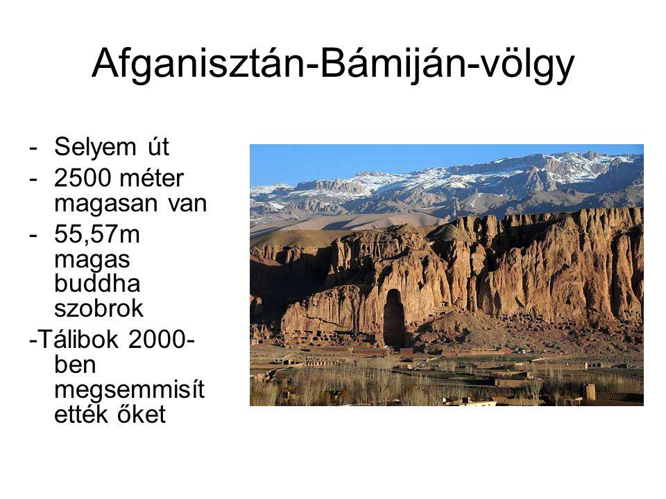 Afganisztán-Bámiján-völgy -Selyem út -2500 méter magasan van -55,57m magas buddha szobrok -Tálibok 2000- ben megsemmisít ették őket