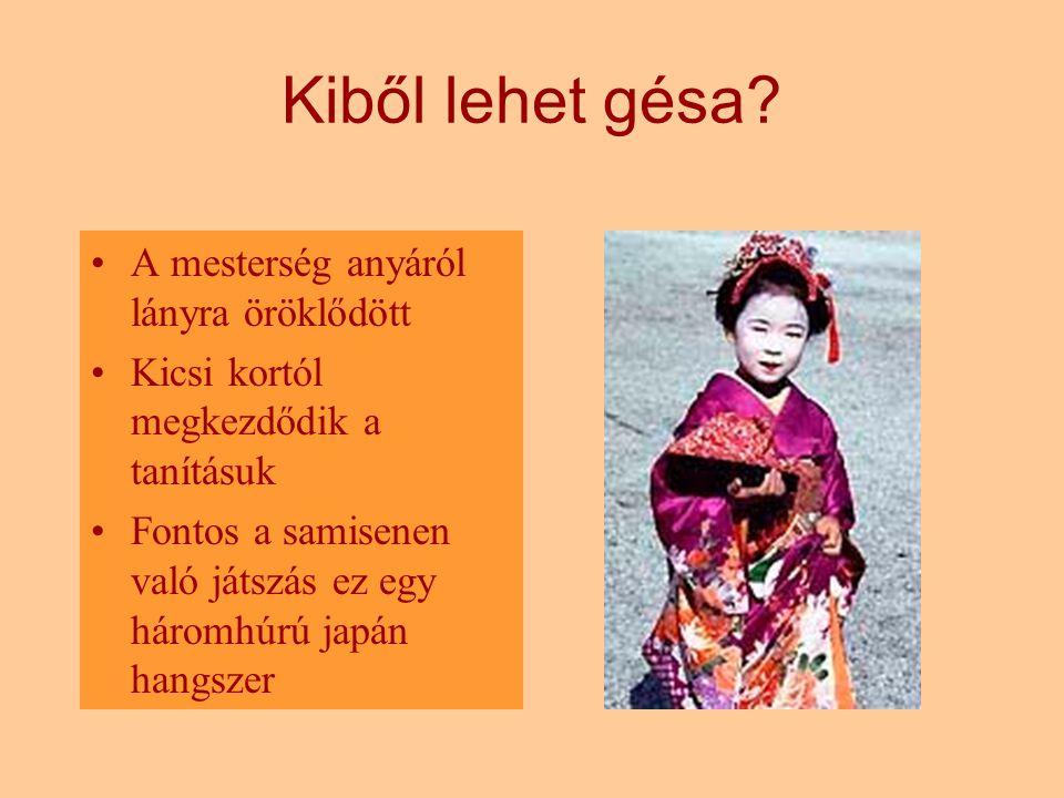 Kiből lehet gésa? A mesterség anyáról lányra öröklődött Kicsi kortól megkezdődik a tanításuk Fontos a samisenen való játszás ez egy háromhúrú japán ha