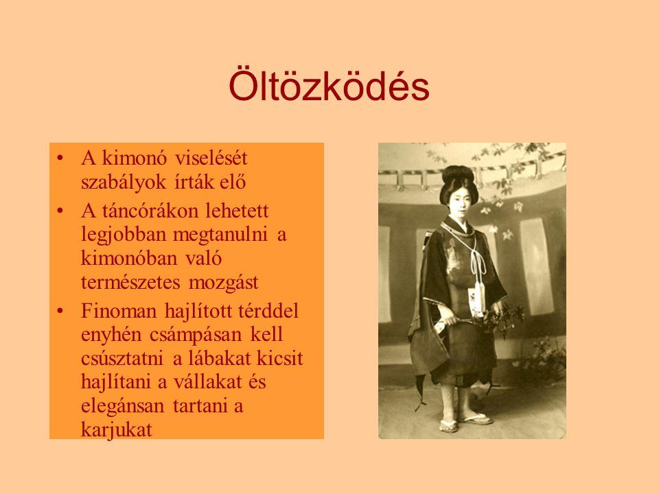 Öltözködés A kimonó viselését szabályok írták elő A táncórákon lehetett legjobban megtanulni a kimonóban való természetes mozgást Finoman hajlított té