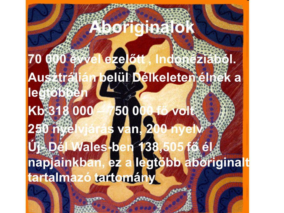 Aboriginalok 70 000 évvel ezelőtt, Indonéziából. Ausztrálián belül Délkeleten élnek a legtöbben Kb 318 000 – 750 000 fő volt 250 nyelvjárás van, 200 n
