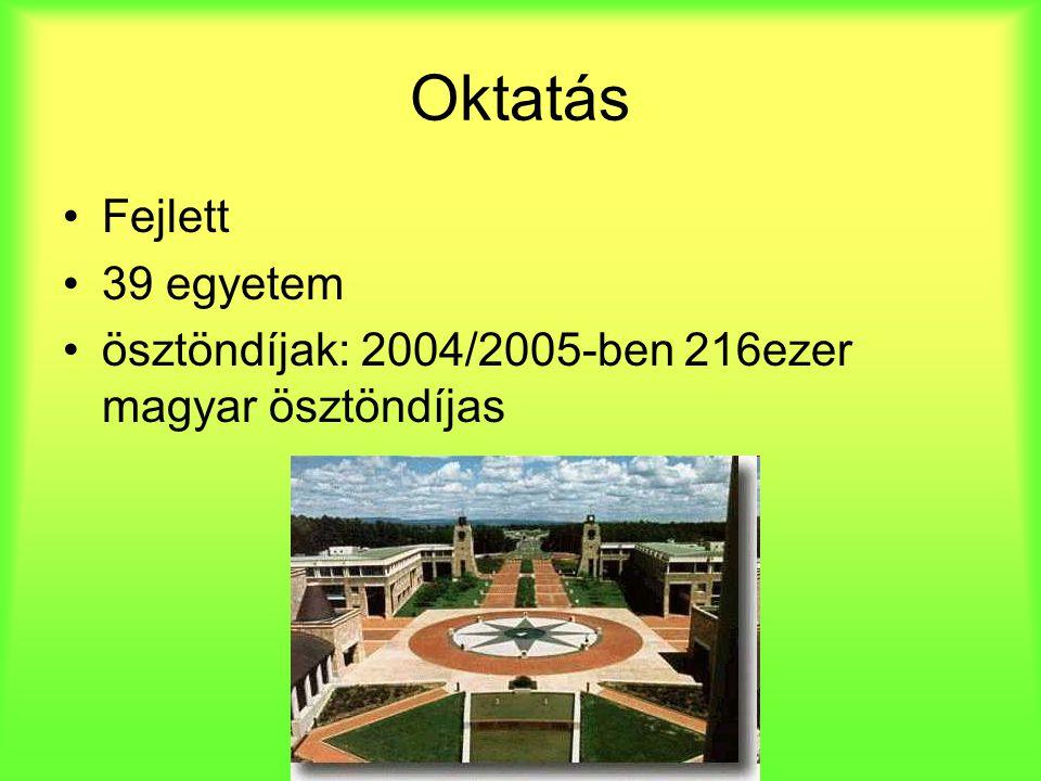 Oktatás Fejlett 39 egyetem ösztöndíjak: 2004/2005-ben 216ezer magyar ösztöndíjas