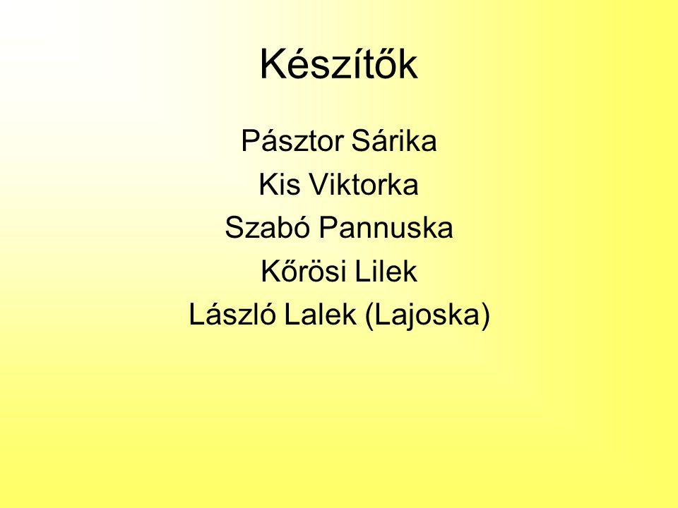 Készítők Pásztor Sárika Kis Viktorka Szabó Pannuska Kőrösi Lilek László Lalek (Lajoska)