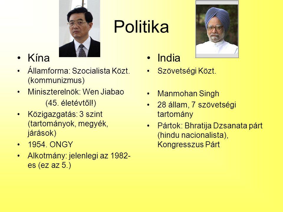 Politika Kína Államforma: Szocialista Közt. (kommunizmus) Miniszterelnök: Wen Jiabao (45. életévtől!) Közigazgatás: 3 szint (tartományok, megyék, járá