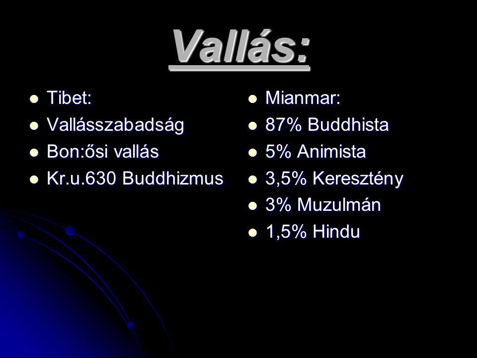 Vallás: Tibet: Vallásszabadság Bon:ősi vallás Kr.u.630 Buddhizmus Mianmar: 87% Buddhista 5% Animista 3,5% Keresztény 3% Muzulmán 1,5% Hindu