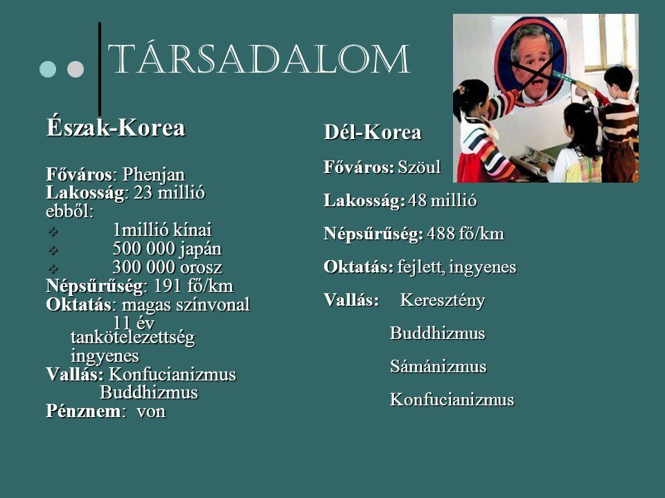 TársadalomÉszak-Korea Főváros: Phenjan Lakosság: 23 millió ebből:  1millió kínai  500 000 japán  300 000 orosz Népsűrűség: 191 fő/km Oktatás: magas